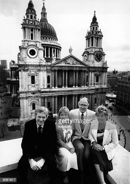 The ITV television broadcasting team who covered the Royal Wedding of Charles, Prince of Wales and Lady Diana Spencer sitting in front of St Paul's...
