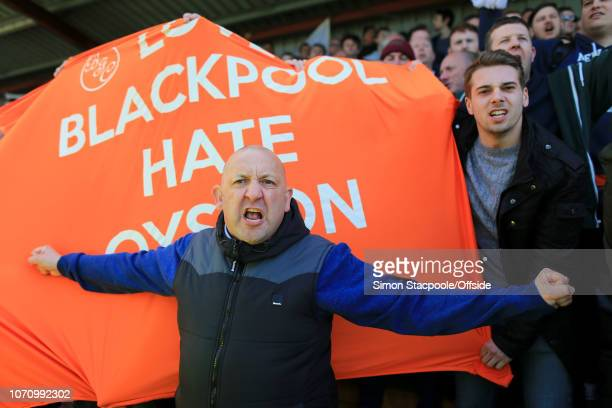 23rd April 2016 Sky Bet League 1 Fleetwood Town v Blackpool Blackpool fans vent their anger towards club owners the Oystons