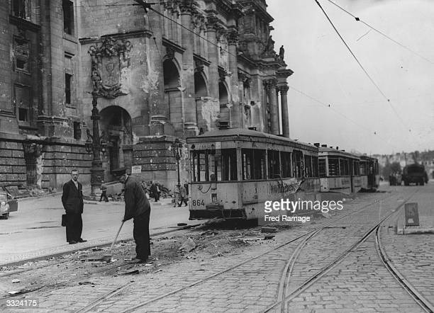 Berlin trams wrecked in fighting in the streets of Berlin
