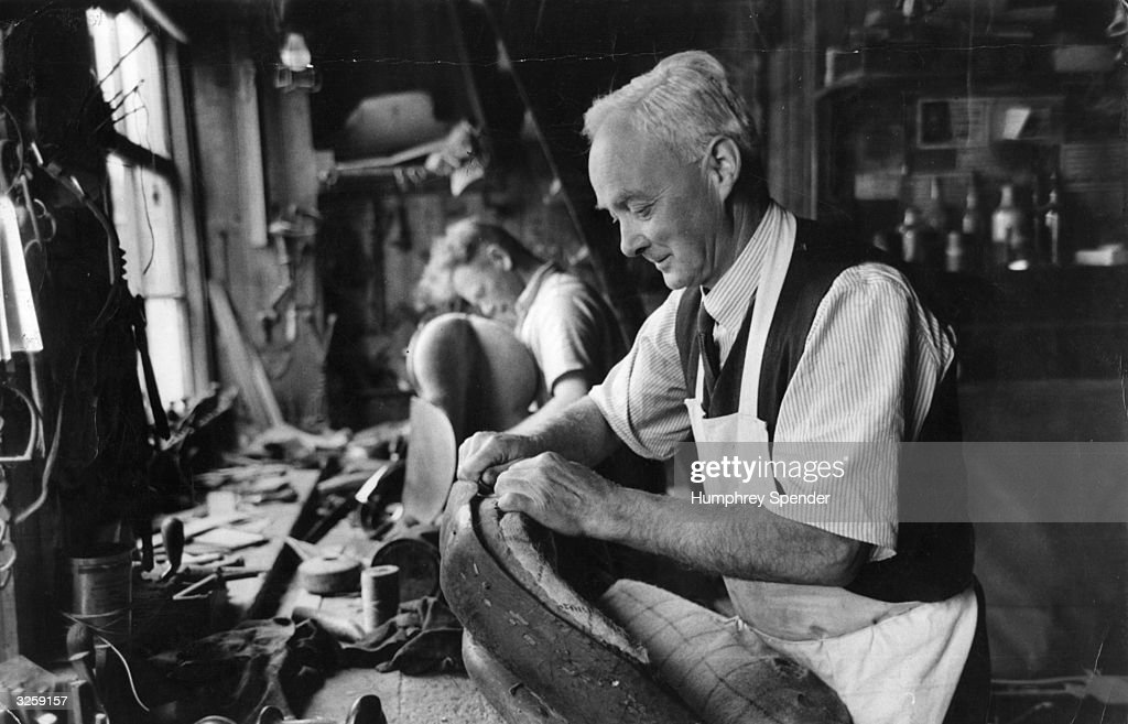Saddler and rope-maker, Ronald Fuller, at work in Wiltshire. Original Publication: Picture Post - 6008 - High Summer in Ageless Wiltshire - pub. 1952