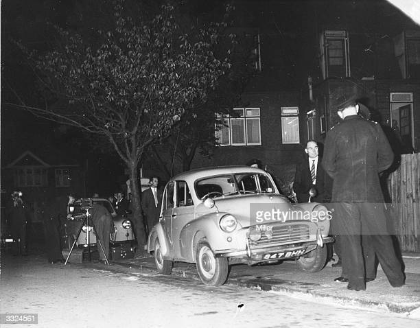 The Morris Minor car in which Michael John Gregsten was murdered on the A6 road at Deadman's Hill, Bedfordshire, after it was found abandoned in...