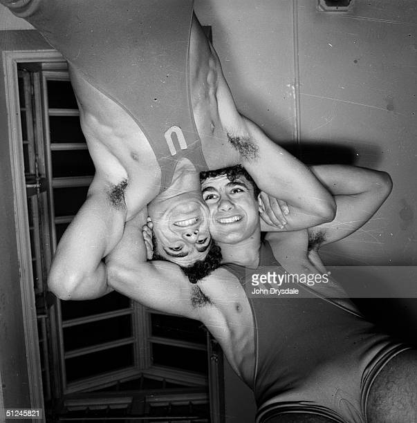23rd August 1962 15yearold twins Ignatius and Anthony Borg winners of the Junior Wrestling Championship seen from beneath whilst tussling