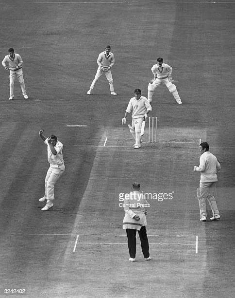 At the Oval Phil Sharpe of England is out LBW to give New Zealand bowler Dick Motz his 100th test wicket Motz was Wisden Cricketer of the Year 1966