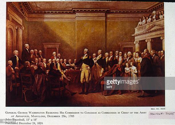 General George Washington resigning his commission to Congress as Commander in Chief of the Army at Annapolis Maryland Original Artwork Painting by...
