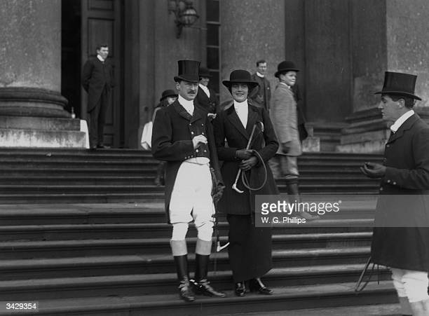 Charles Richard John Spencer Churchill the 9th Duke of Marlborough hosts a fox hound meet at Blenheim Palace Oxfordshire with Clementine Churchill...