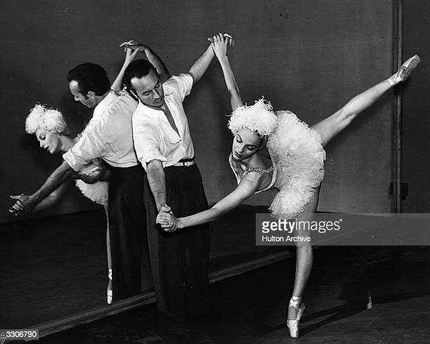 Vera Zorina the stage name of Eva Hartwig the ballet dancer and actress rehearsing with her husband George Balanchine for the Warner Brothers musical...