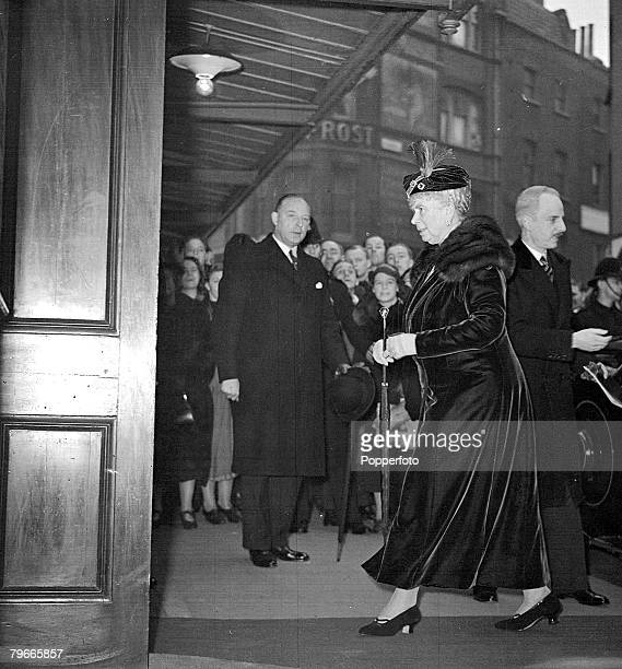 23rd February 1938 London England Queen Mary arriving at the Hippodrome for a charity performance of Hide and Seek