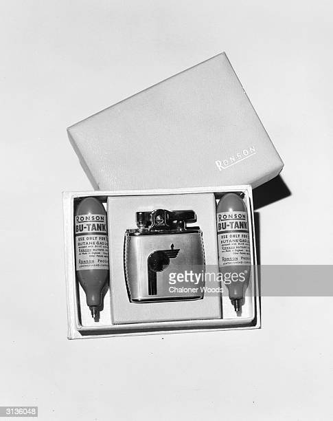 Presentation box containing a Ronson cigarette lighter and two refill 'Bu-Tanks' of butane gas.