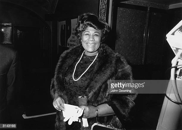 American jazz singer Ella Fitzgerald during a visit to London