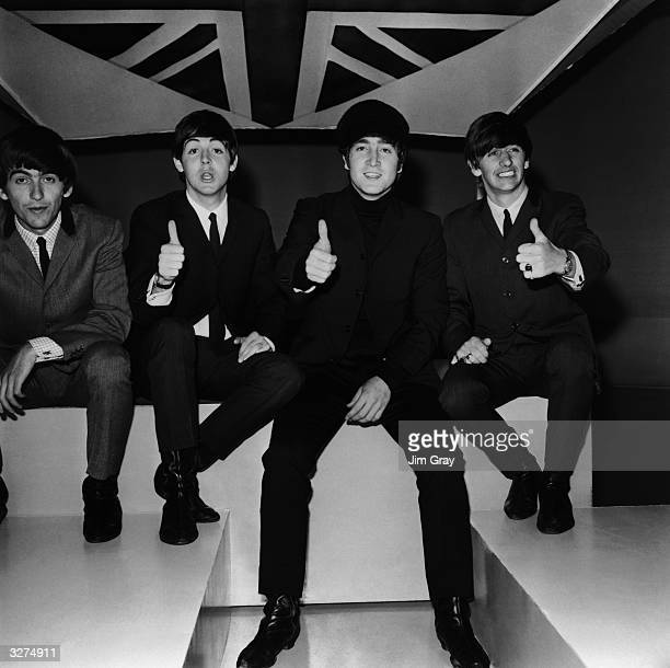 British pop group The Beatles at the ABC Television Studios in Teddington for their next TV show 'Big Night Out' From left to right George Harrison...