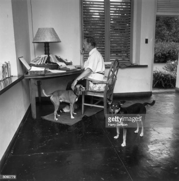 English writer Ian Fleming in his study at Goldeneye his Jamaican home