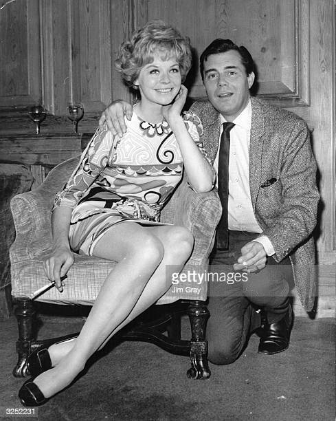 English actor and author Dirk Bogarde with actress Susannah York at a reception at the Dorcester Hotel London to launch the film 'Mister Sebastian'...