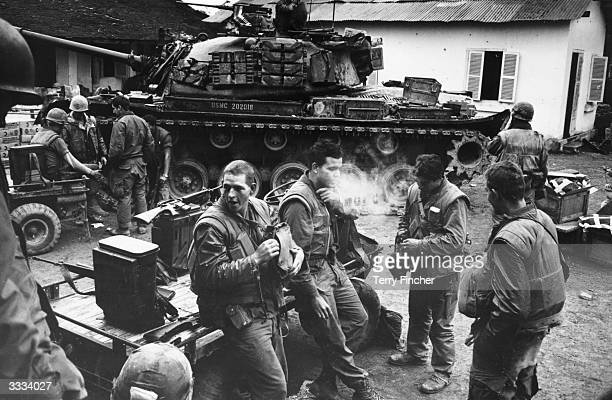US Marines at Forward Command Post in Hue during the Vietnam war