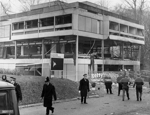 The wrecked headquarters of the Parachute Regiment at Aldershot bombed by the Irish Republican Army in retaliation for the thirteen deaths in Derry...