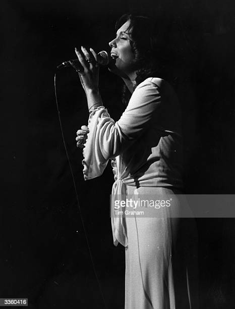 American pop singer Karen Carpenter of the Carpenters performing at the Festival Hall London