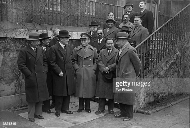 Burmese delegates, who are in London for talks on Burma's independence, meeting with the British Prime Minister Clement Attlee and members of the...