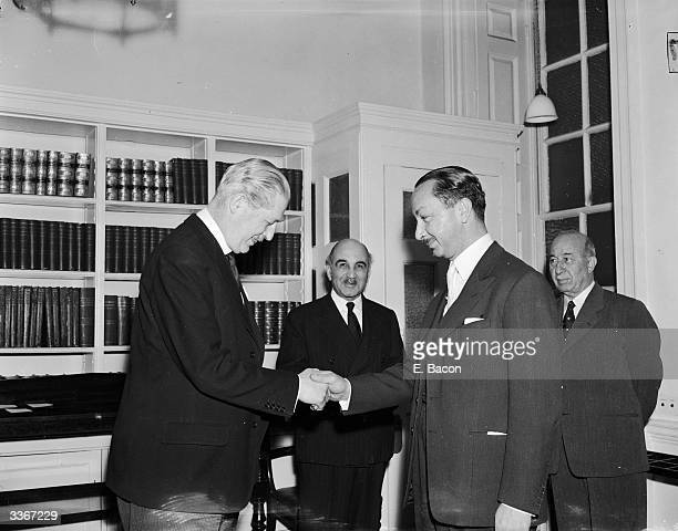 Crown Prince Abdul Illah of Iraq meets British prime minister Harold Macmillan at Number 10 Downing Street London during a short stopover