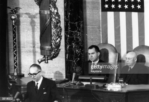 Arturo Frondizi, President of Argentina, addressing the Joint Session of the US Congress in Washington. Seated behind him are Vice-President Nixon...