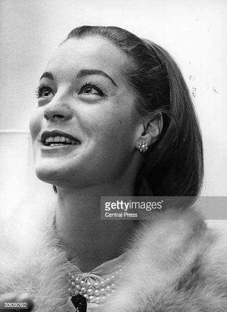 Austrian film actress Romy Schneider at the Savoy Hotel London attending a reception for the author of the book 'Countess Tarnovska' Hans Habe Romy...