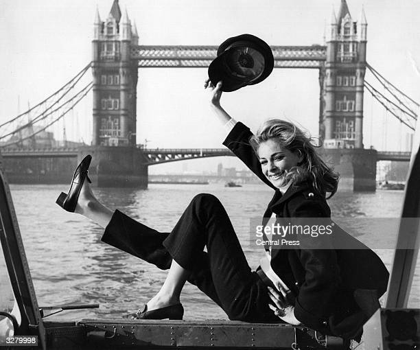 The Swedish Russian actress and star of the film 'Murderers' Row' Camilla Sparv on the River Thames London