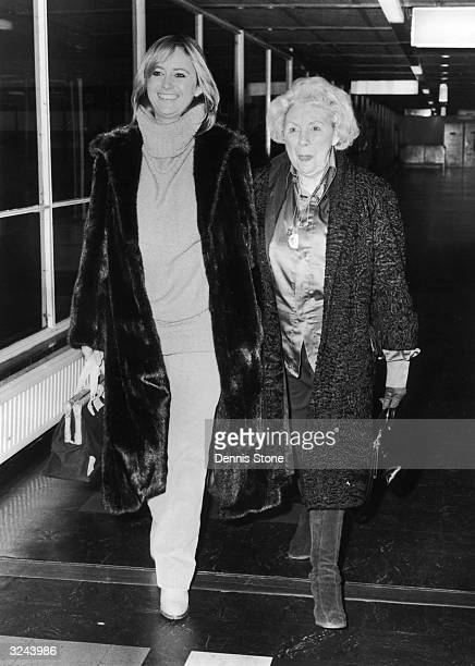 British actress Susan George and her mother depart for Paris by air.