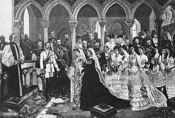 Princess Beatrice the youngest child of Queen Victoria marries Prince Henry of Battenberg at St Mildred's Church at Whippingham on the Isle of Wight...