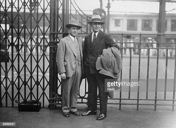 US golfer Bobby Jones British Open Golf Champion and Mr Kirkwood at Waterloo Station London bound for the USA
