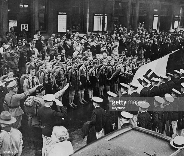 Nazi Hitler Youth members receiving a civic reception at Hove railway station, Sussex.