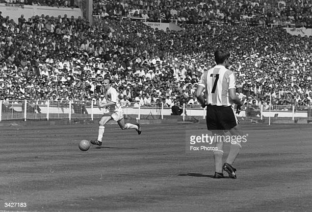 English footballer Nobby Stiles in action during the World Cup quarterfinal match between England and Argentina at Wembley