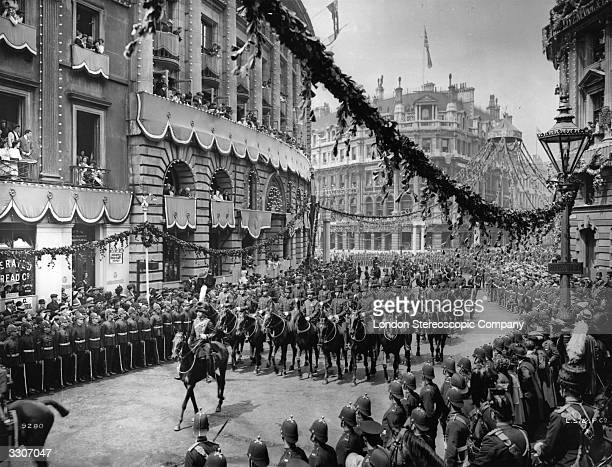 The Royal Horse Artillery ride through the streets of London as part of King George V's Coronation celebrations