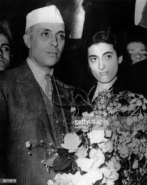 Indian statesman Jawaharlal Nehru and his daughter Indira arriving in London to discuss the Indian situation with international politicians