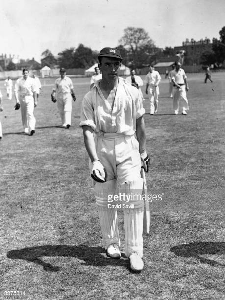 The English cricketer and footballer Denis Compton playing for Middlesex County Cricket Club