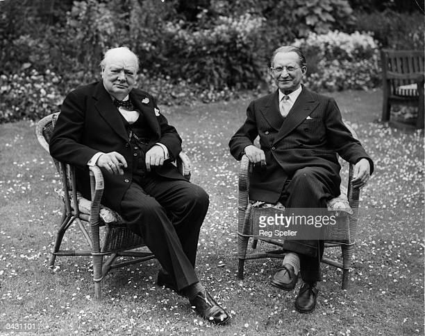 Sir Winston Churchill and the Italian Prime Minister Signor Alcide de Gasperi in the gardens of No10 Downing Street