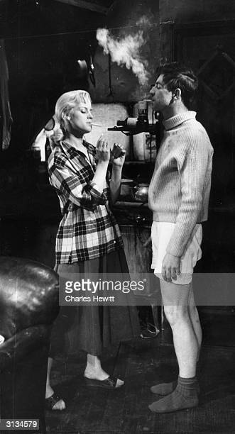 Mary Ure plays Alison Porter and Alan Bates plays Cliff Lewis in a scene from 'Look Back in Anger' by John Osborne. Produced by the English Stage...