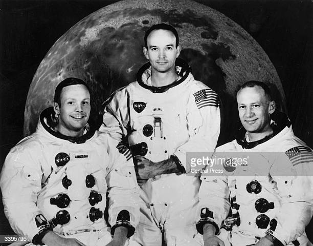 Crew of the Apollo 11 lunar landing mission Commander Neil Armstrong command module pilot Michael Collins and lunar module pilot Edwin Aldrin Jnr...