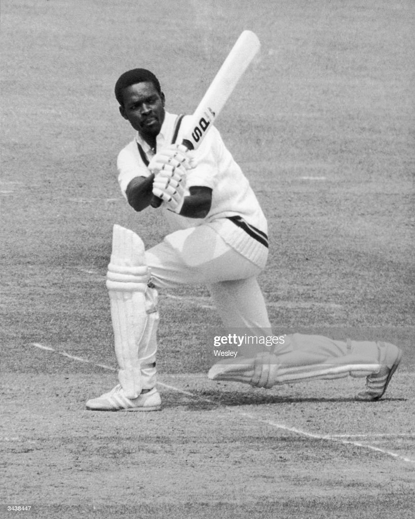 West Indian batsman Collis King hits a ball from Botham during the World Prudential Cup Final against England at Lord's. King was out for 86.