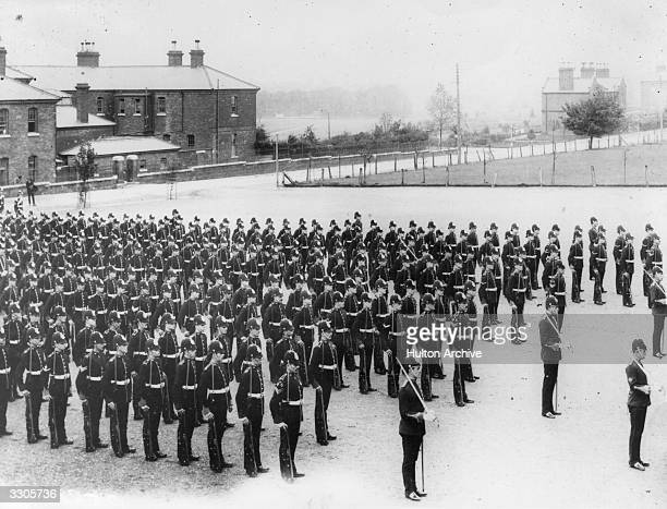 British soldiers from the Suffolk Regiment on parade at the Curragh Camp near Dublin during the Curragh Mutiny