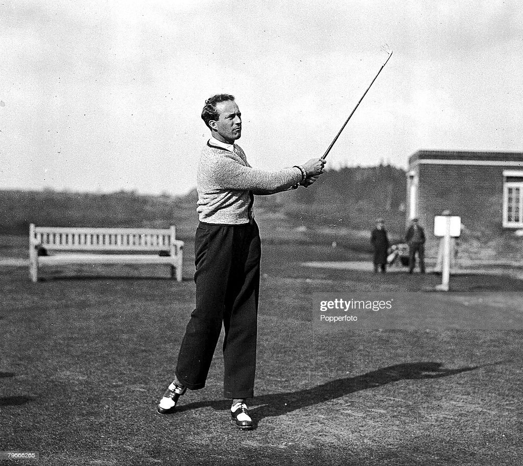 23rd March 1937, King Leopold of the Belguims drives whilst playing golf at the Royal Berkshire club, Ascot