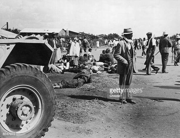 The aftermath of riots in the streets of Sharpeville 38 miles from Johannesburg The rioting was in response to laws requiring black citizens to carry...
