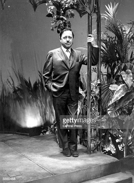 American playwright and Pulitzer Prize winner Tennessee Williams on the set used for his play 'Night of the Iguana' at London's Savoy Theatre
