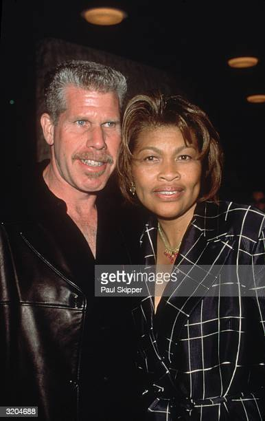 American actor Ron Perlman and his wife fashion designer Opal S Stone smile while embracing at the premiere of director Carlos Avila's film 'What...