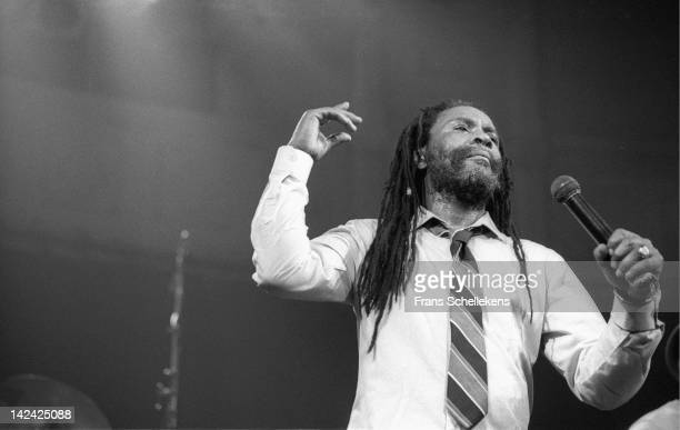 23rd MARCH: Jamaican reggae singer Burning Spear performs live on stage at the Paradiso in Amsterdam, Netherlands on 23rd March 1987.