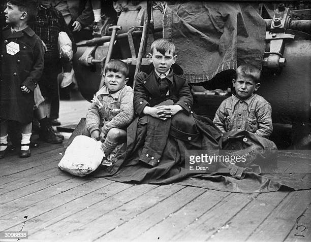 Three young orphans from Bilbao arrive at Southampton aboard the liner Habana They and over 4000 other Basque children will be housed in Britain...