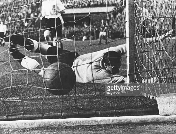 England goalkeeper Gil Merrick fails to save a goal during an international match between England and Hungary Hungary won by seven goals to one