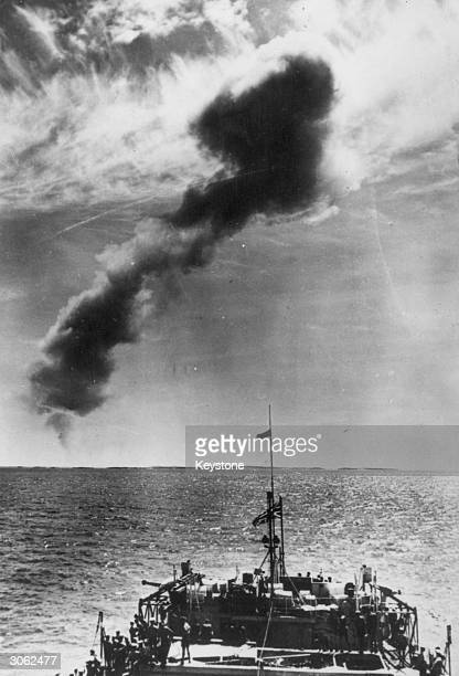 A cloud of smoke and atomic dust rises above the Monte Bello Islands Western Australia after a controlled test detonation of Britain's latest atomic...