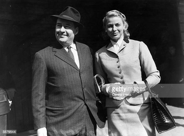 Swedish film star Ingrid Bergman is met by her second husband Italian director Roberto Rossellini at London's Victoria Station after journeying from...
