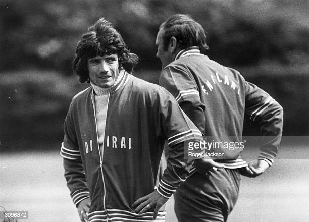 England footballer Kevin Keegan and the team manager Don Revie during a training session before a game against Scotland
