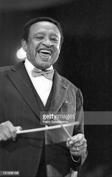 23rd MAY: American jazz musician Lionel Hampton performs live on stage at the Concertgebouw in Amsterdam, Netherlands on 23rd May 1987.