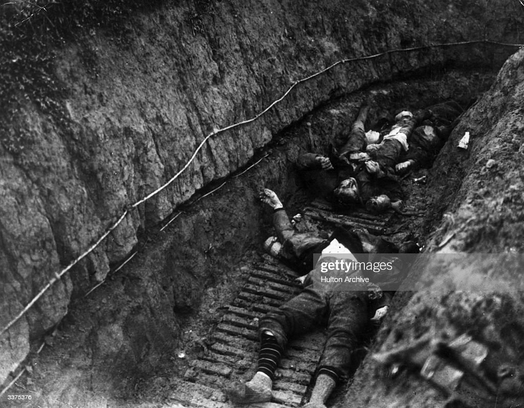 Battle of Cambrai, Flesquieres, France. German Soldiers lying dead in a trench.