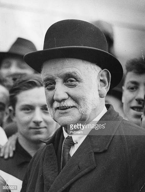 British politician George Lansbury first commissioner of works for the Labour party amongst the crowd at a football match in Hyde Park London